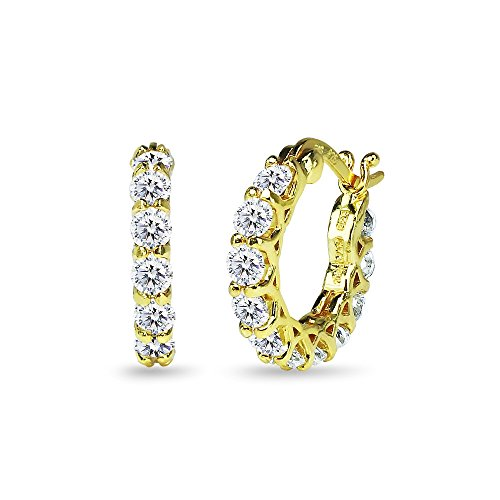 (Yellow Gold Flashed Sterling Silver 16mm Round Small Huggie Hoop Earrings Made with Swarovski Zirconia)