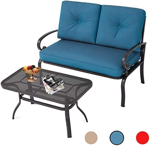 Oakmont Outdoor 2 Pcs Patio Loveseat Bench with Coffee Table Metal Furniture Set Sofa, Wrought Iron Look Peacock Blue