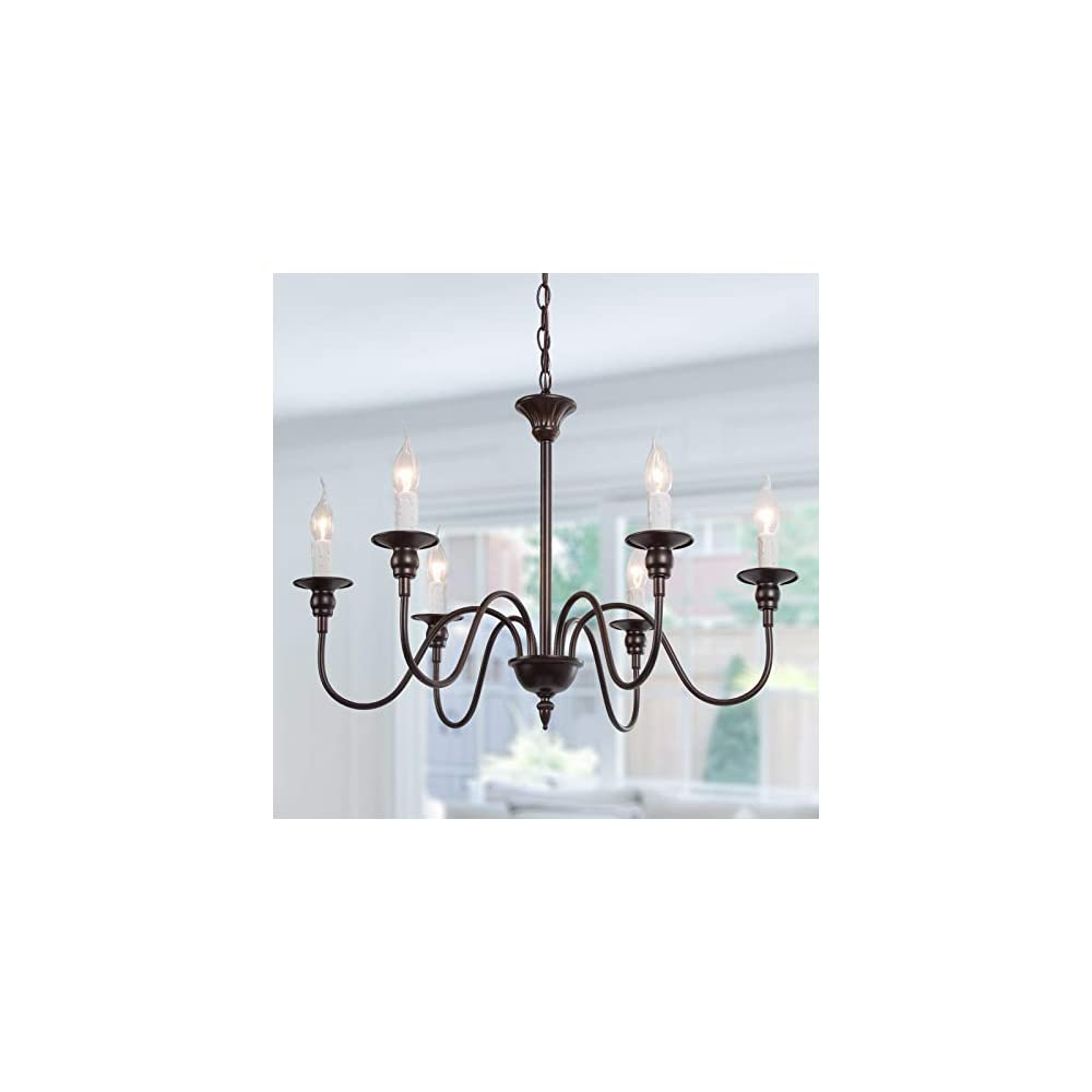 Optimant Lighting Large Oil Rubbed Brown Chandelier, Farmhouse Candle Chandelier Light Fixture for Dining Room, Kitchen…