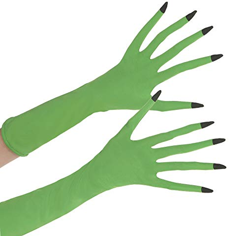 Suit Yourself Green Witch Gloves for Adults, One Size, Long Light Green Gloves Feature Thin Fingers with Pointed Nails