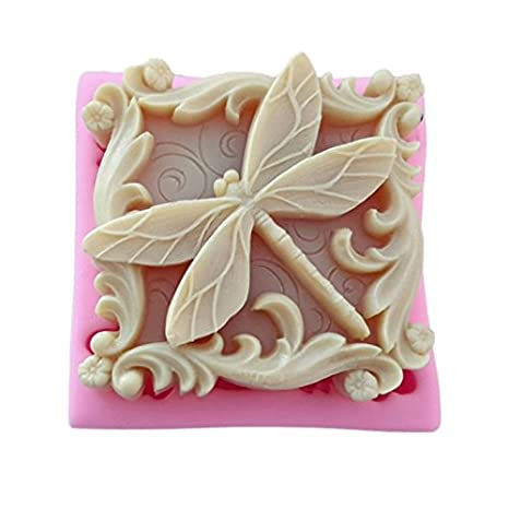 Septiembre de Pretty Diseño de libélula y mariposa insectos silicona molde jabón molde Vela polímero arcilla moldes DIY para tarta Chocolate Fondant molde ...