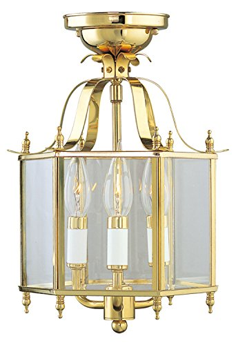 Polished Brass Foyer Hall Semi-Flush Mount Brass Hall Lanterns
