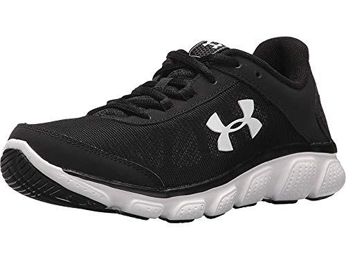 Under Armour Women's Micro G Assert 7 Wide Running Shoe, Black (001)/White, 7.5 W US