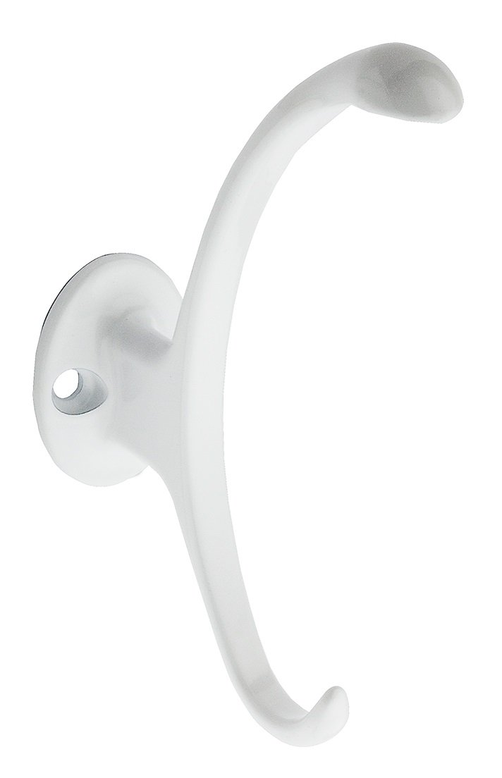 National Hardware N806-810 N806810 Garment Hook, 1.1 in W x 5 in H, Die Cast Zinc Grm Large 5, White