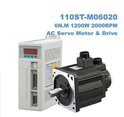 GOWE AC SERVO MOTOR & DRIVER SYSTEM 6N.M 1.2KW 2000RPM 110ST AC (Driver 2000rpm Tool)