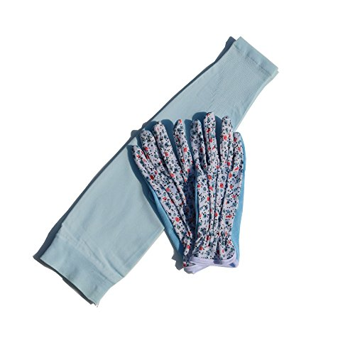 - Mam's Garden Flora Gloves and Cooling Arm Seamless Sleeves for Women UV Sun Protective Set(Sky)