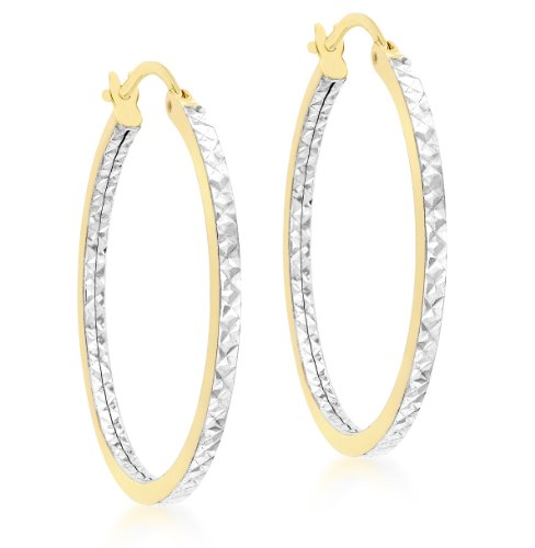 Carissima Gold - Boucles d'oreilles créoles - 375/1000 - Or bi colore - Femme