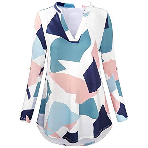 Clearance Women Tops LuluZanm Loose Tops Plaid Tunic Blouse 3/8 Roll Sleeve Shirt Notch Neck T Shirt