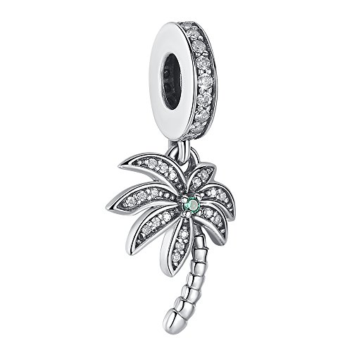 (Sparkling Palm Tree Charm Pendant 925 Sterling Silver Clear CZ Tree Charms for Bracelet Necklace)