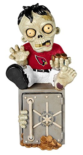 Arizona Cardinals Official NFL 14.5 inch x 9.5 inch Zombie Figurine Bank by Forever Collectibles 519821