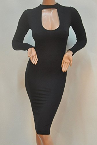 ALAIX-Womens-Sexy-Keyhole-Bodycon-Long-Sleeve-Warm-Party-Night-Out-Pencil-Midi-Dress