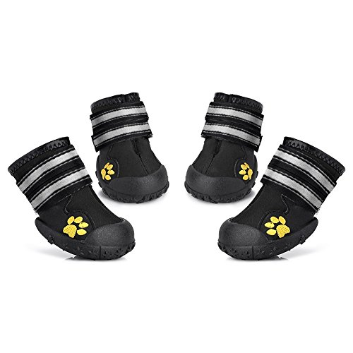 Petacc Dog Shoes Water Resistant Dog Boots Anti-Slip Snow Boots Warm Paw Protector for Medium to Large Dogs Labrador Husky Shoes, Size 8, 4 Piece (Best Dog To Pair With Labrador)
