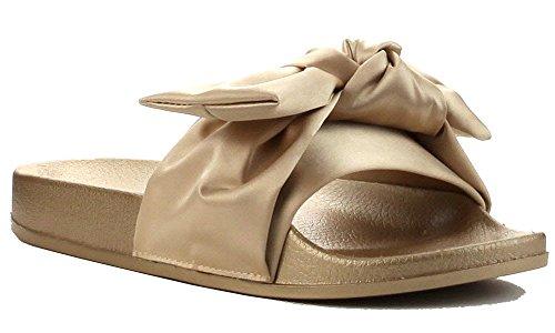 Sandalo Da Donna Scivolo Punta Aperta In Raso Con Fiocco Oro