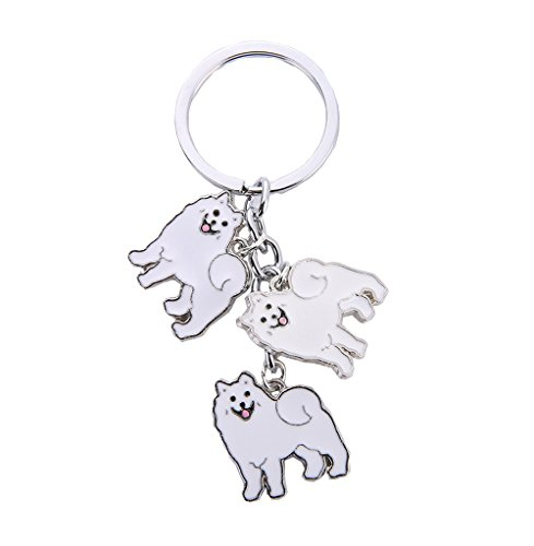 (BBEART Dog Keychain, Pet Pendant Key-Ring, Cute Puppy ID Tags Metal Key Ring for Dog Lover (Samoyed))