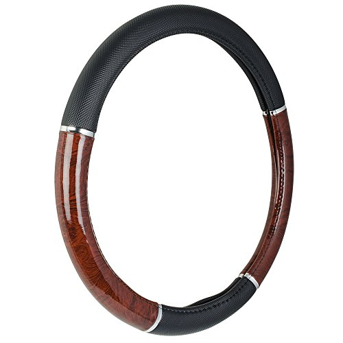 custom-accessories-35710p-black-steering-wheel-cover-with-woodgrain-design-and-chrome-trim