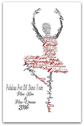 - Ballerina Personalized Multiple Names Print, Ballet Teacher Gift, Dance Art, 8x10 or 11x14 Print