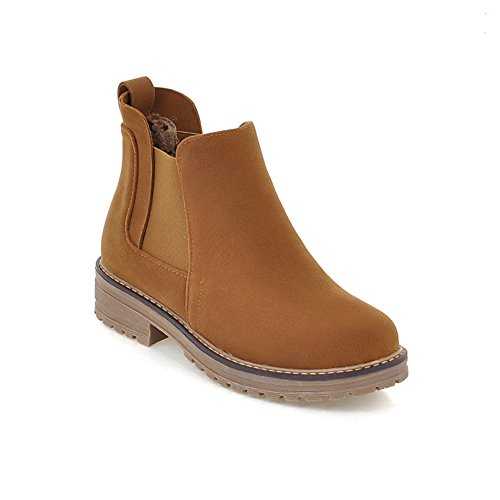 Ankle Chunky High Lucksender Toe Womens Boots Brown Low Round Platform Heel q0AxZPwAg