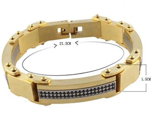 Formes géométriques en acier inoxydable titane Bracelet jonc Doré Unisexs 21,5 cm de circonférence