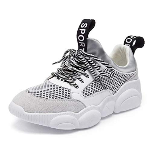 Womens Chunky Sneaker Lace Up Mesh Retro Ugly Dad Shoes Platform Thick Sole Breathable Gym Sport Wears White ()