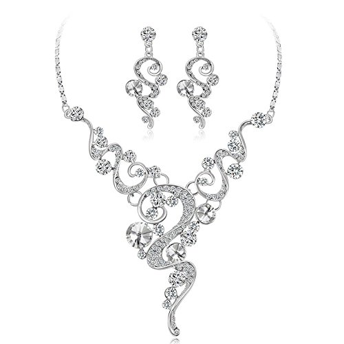 Hot Sale!Pendant Necklace,Simayixx Women's Wedding Bridal Crystal Teardrop Filigree Leaf Twig Statement Necklace Dangle Earrings Set (White)