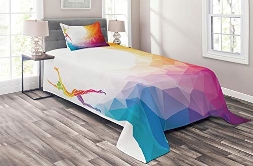 Ambesonne Sports Coverlet Set Twin Size, Gymnastics Girl Gymnast Portrait Colored Geometric Digital Shapes Modern Olympics, 2 Piece Decorative Quilted Bedspread Set with 1 Pillow Sham, White Ruby