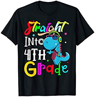 Straight Into 4th Grade shirt Back to School Dinosaur tee T-shirt | Size S - 5XL