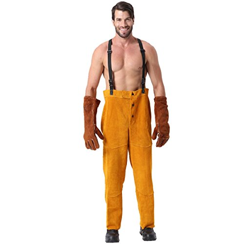 Leather Welding Pants Chaps Trousers Flame/Heat/Abrasion Resistant Cowhide Leather Worker Britches Romper for Welding Protection (XL) by Generic (Image #1)