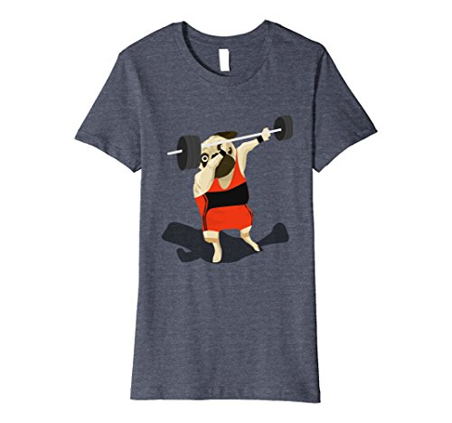 [Womens Dabbing Weightlifting Weightlifter Pug Gym Wear Tshirt Large Heather Blue] (Dog Weightlifter Costume)
