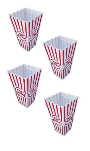 Ifavor123 Popcorn Snacks Movie Carnival Fun Party White and Red Plastic Containers - 4 Pack