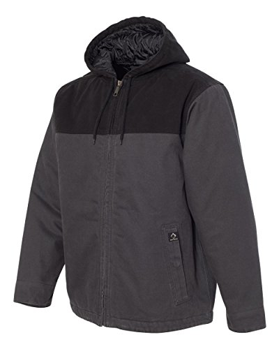 DRI Duck 5058 Men's Terrain Hooded Boulder Cloth Canvas Quilted Lined Workwear Jacket (Large, Charcoal/Black)