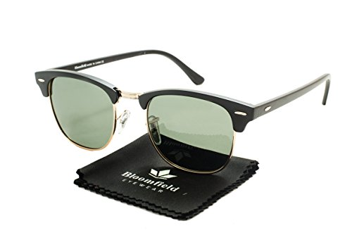 Bloomfield Eyewear, Classic Half Frame Horn Rimmed Clubmaster Type Sunglasses, for men and women (Paris, 49, - Of Types Mens Sunglasses
