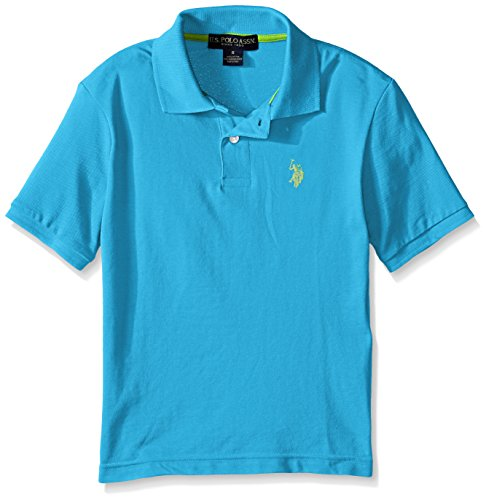 U.S. Polo Assn. Boys' Big Classic Short Sleeve Solid Pique Polo Shirt, Flip Flop Blue, 18