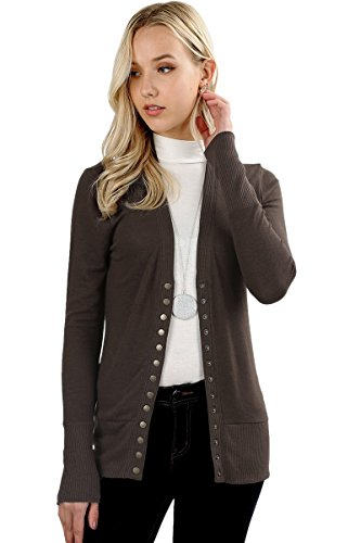Cardigans for Women Long Sleeve Cardigan Knit Snap Button Sw