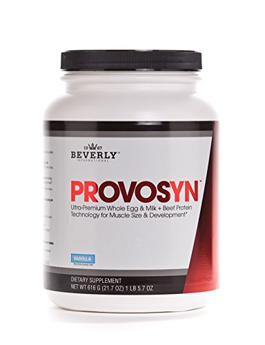 Beverly International Provosyn, 1 lb 5.7 oz, 616 g. Golden-Era whole egg, milk and beef protein formula for lean muscle gains.