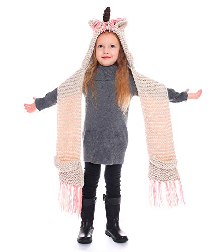 e388d2afbab Kokkn Girls Boys Crochet Cartoon Unicorn Winter Hat with Scarf Pocket Hooded  Set Knitting Beanie Cosplay
