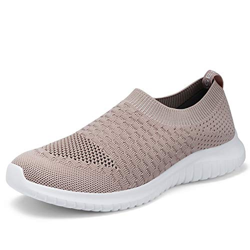 TIOSEBON Women's Walking Shoes Lightweight Breathable Flyknit Yoga Travel Sneakers 9 US Apricot