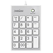 Perixx PERIPAD-202HW, Numeric Keypad for Laptop - USB  - Built-in 2xUSB Hub - Tab Key Feature - Full Size 19 Keys - Big Print Letters - Silent X Type Scissor Keys – White