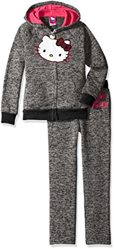Hello Kitty Little Girls' 2 Piece Hooded Fleece Active Set, Black 86871, 5 ()