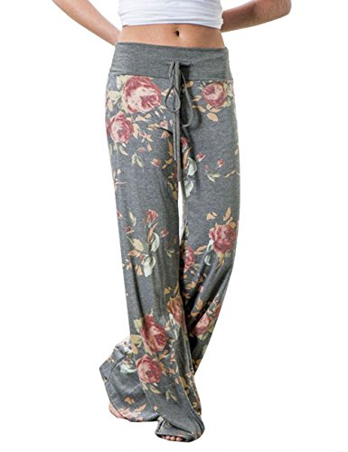 Cotton Silk Trousers - Assivia Womens Wide Leg High Waist Yoga Pants Casual Printed Drawstring Trousers (L, Grey)
