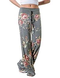 Assivia Womens Wide Leg Yoga Palazzo Pants Casual Printed Drawstring Trousers