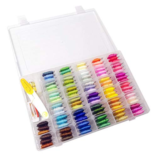 Embroidery Floss Cross Stitch Threads – WeeDee 100 Colors Friendship Bracelets Floss with Organizer Storage Box Embroidery Thread Bracelet String Embroidery Kit 43 Pcs Cross Stitch Tools