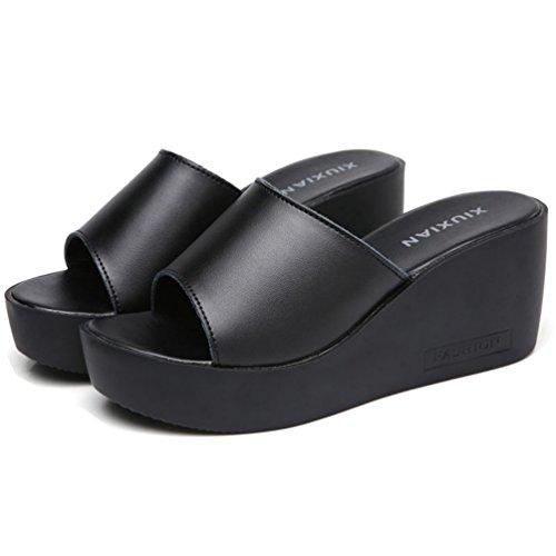 de Noir Sandales Toe d'été JRenok Casual Confortable Sandale cale Forme Slide sur Plate Plage Open Womens Glisser xwqCUOnaq