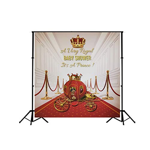 Red Carpet Backdrop Gorgeous Palace Photography Backdrops Royal Prince Gold Crown Vinyl Background Baby Shower Photo Studio Props SM-045 ()
