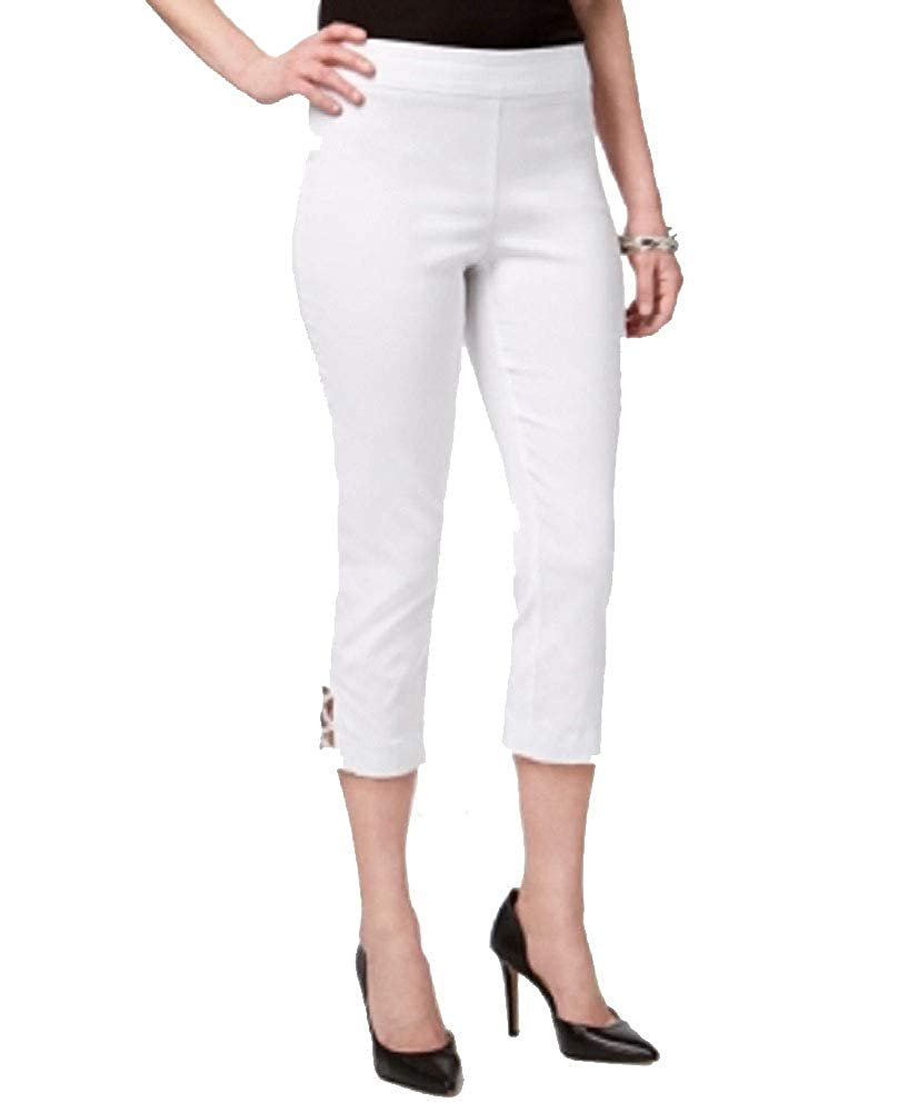 JM Collection Petite Embellished Lattice Capri Pants
