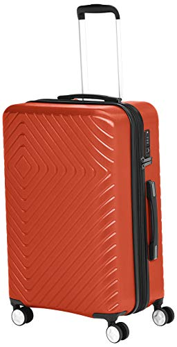 AmazonBasics Geometric Luggage Expandable Suitcase Spinner 24-Inch, Sunset- Red/Orange