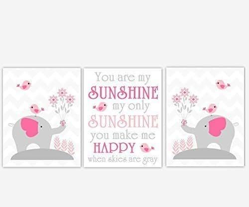 My Baby Girl S Nursery: Amazon.com: Baby Girl Nursery Art Elephant Pink Gray Grey