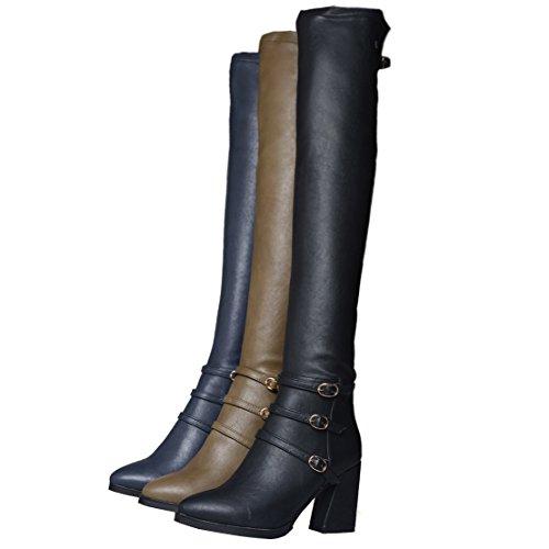 AIYOUMEI Damen Stretch Overknee Stiefel mit Schnalle und 7cm Absatz Elegant Modern Winter Langschaft Stifel 7KlsFSL