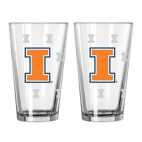 NCAA Illinois Fighting Illini Pint Glasses | University of Illinois Beer Glasses, Set of - Illini Fighting Illinois Dorm