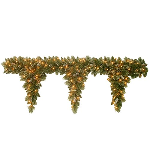 (National Tree 6 Foot Glittery Bristle Pine Teardrop Garland with 3 Drops, Cones and 50 Clear Lights (GB1-300-6T-1))