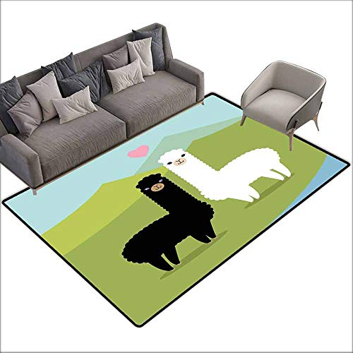 Kitchen Carpet Llama,Alpacas in Love in The Mountains Fauna Valentines Animals with Contrasting Colors,Multicolor 48